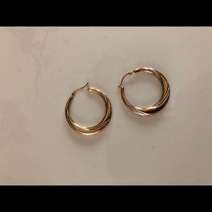 Sterling/14K Circle Hoop Earrings